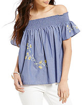 Daniel Cremieux Bailey Off-the-Shoulder Embroidered Blouse