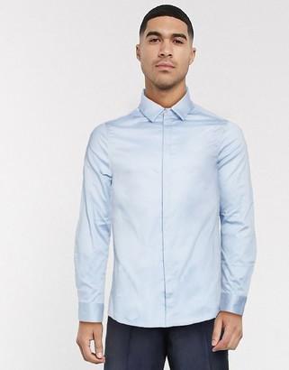 ASOS DESIGN wedding skinny sateen shirt in light blue