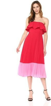 Aidan Mattox Aidan Women's Popover Crepe de Chine Color Blocked Pleated Dress