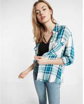Express Plaid Oversized Convertible Sleeve Shirt