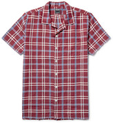 Todd Snyder Camp-Collar Checked Linen Shirt