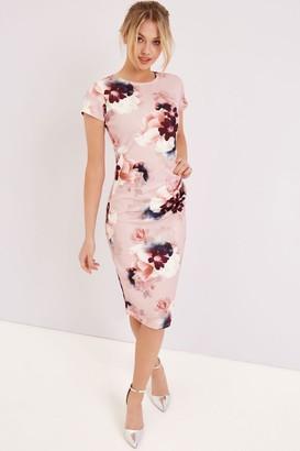 Girls On Film Pink Floral Print Midi Dress