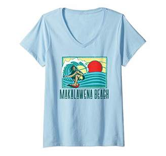 Womens Makalawena Beach Hawaii Vintage Surfer & Wave Retro V-Neck T-Shirt