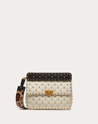 Valentino Medium Rockstud Spike.it Nappa Bag With Leopard Print Strap Women Light Ivory/black 100% Lambskin OneSize