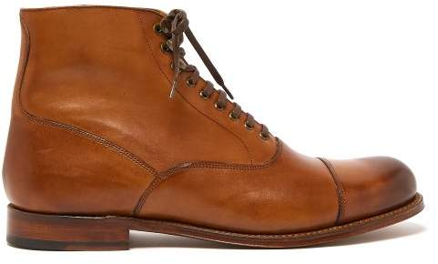 Grenson Leander Lace Up Leather Boots - Mens - Tan