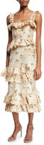 Brock Collection Daria Floral-Print Tiered Taffeta Corset Midi Dress
