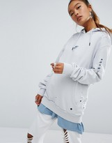 Criminal Damage Oversized Distressed Hoodie With Logo