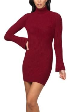Bebe Juniors' Bell-Sleeve Ribbed Sweater Dress