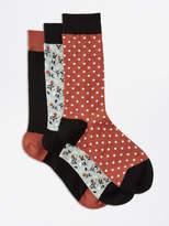 Frank and Oak 3-Pack Multi-Pattern Cotton-Blend Socks in Russet