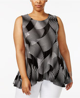 Alfani Plus Size Pleated Peplum Tunic, Created for Macy's