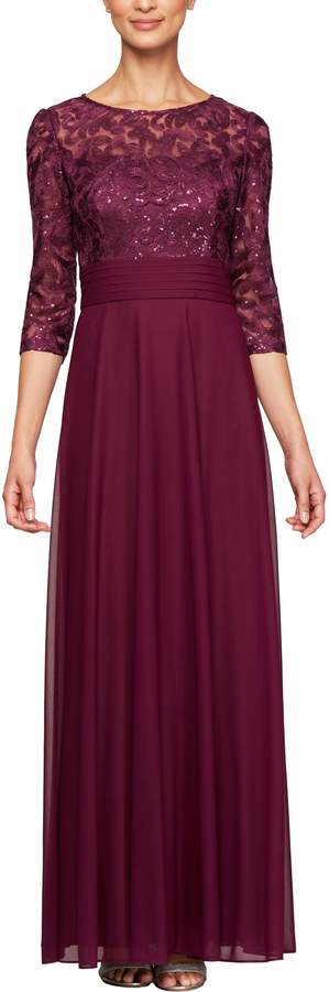 Alex Evenings Sequin Embroidered Chiffon A-Line Gown