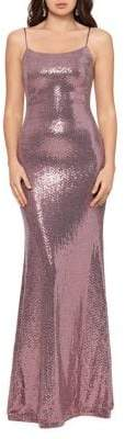 Betsy & Adam Squareneck Sequined Gown
