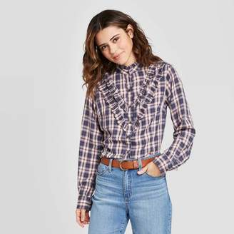 Universal Thread Women's Plaid Ruffle Long Sleeve Henley Button-Down Shirt - Universal ThreadTM Blue