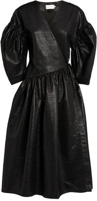 Kika Vargas Tie-Front Midi Dress