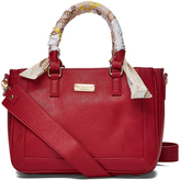 BCBGMAXAZRIA Dark Red Scarf-Accent Tote