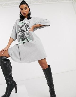 ASOS DESIGN rebel sinner oversized t-shirt mini dress in gray