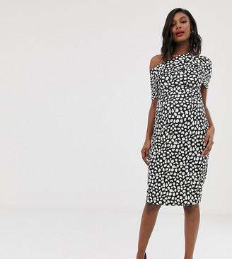 Asos DESIGN Maternity pleated shoulder pencil dress in mono spot print