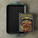 Le Creuset Cast-Iron Rectangular Skinny Grill with Cookbook