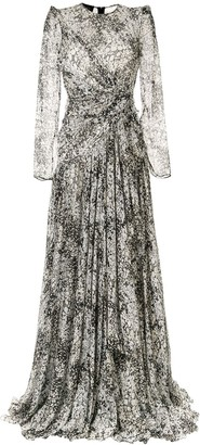 Giambattista Valli Floral Print Silk Gown