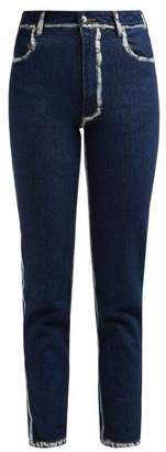 Eckhaus Latta Painted Seam Cropped Skinny Jeans - Womens - Blue