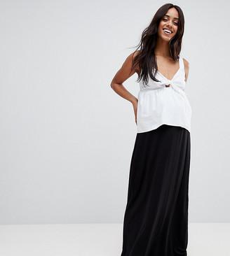 ASOS DESIGN Maternity maxi skirt with paperbag waist