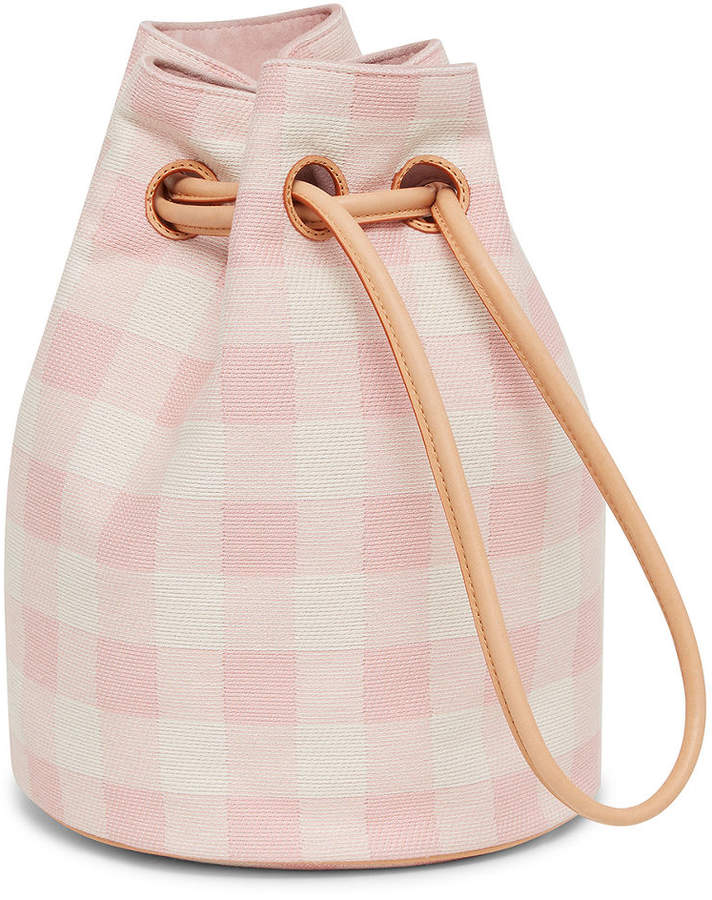 Mansur Gavriel Check Canvas Drawstring Pouch Bag