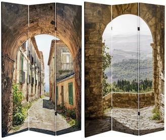 Oriental Furniture Handmade 6' Canvas European Village Room Divider
