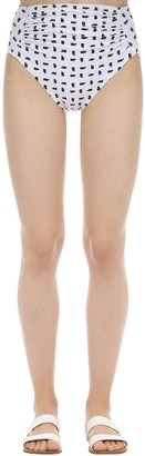 Self-Portrait Printed High Waist Lycra Bikini Bottoms