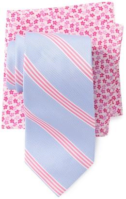Tommy Hilfiger Fresh Stripe Tie & Floral Pocket Square Set