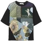 Chloé Printed Silk-twill Paneled Cotton-jersey T-shirt