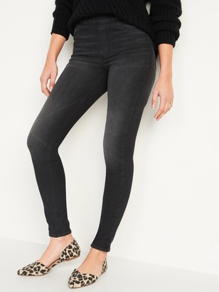 Old Navy Mid-Rise Rockstar 360 Stretch Super Skinny Black Jeggings for Women