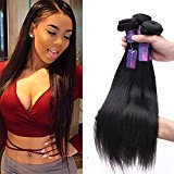 """Moca Hair 8A Brazilian Virgin Straight Hair 3 Bundles 100% Unprocessed Human Hair Weave Extensions Natural Color Can Be Dyed and Bleached (10"""" 12"""" 14"""")"""