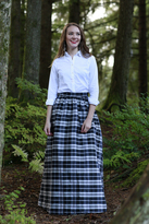Shabby Apple First Snow Black and White Plaid Skirt
