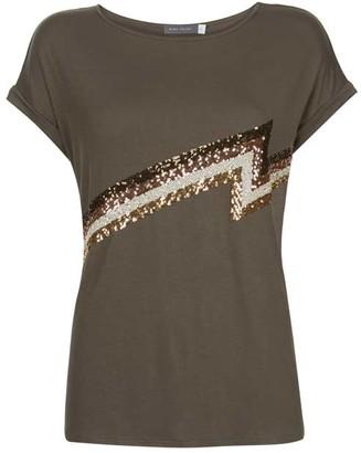 Mint Velvet Khaki Sequin Lightning T-Shirt