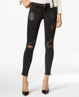 Hudson Nico Destructed Black Wash Frayed Hem Skinny Ankle Jeans