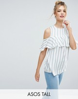ASOS Tall ASOS TALL Ruffle Off Shoulder Top In Stripe
