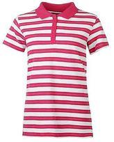 Full Circle Women Stripe Polo Tee Shirt Top Short Sleeve Cotton Fold Down Collar