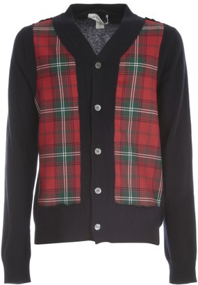 Comme des Garçons Shirt Fully Fashioned Knit Cardigan W/wool Tartan Check Front