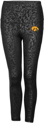 Colosseum Women's Black Iowa Hawkeyes Chasse Textured Leggings