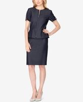 Tahari ASL Tahari ASL Petite Denim Peplum Skirt Suit