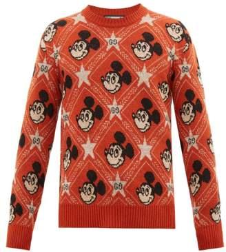 Gucci Mickey Mouse Jacquard-knit Sweater - Mens - Orange