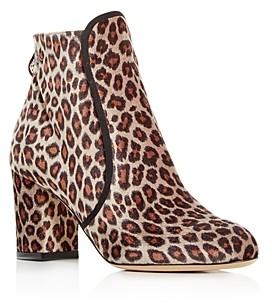 Charlotte Olympia Women's Leopard Print Velvet Block-Heel Booties