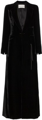 Olivier Theyskens Silk Blend Velvet Long Sleeve Maxi Coat