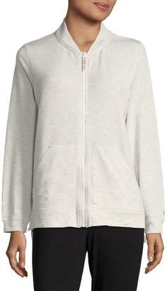 Hue Solid Long-Sleeve Zip-Front Jacket