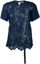 No.21 jersey-panelled lace top - women - Cotton/Polyester - 42