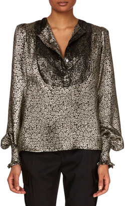 Redemption Blouson-Sleeve Metallic-Silk Blouse w/ Lace Plastron