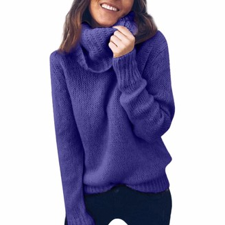 FNKDOR Women Winter Warm Solid Long Sleeve Turtleneck Knitted Sweater Jumper Pullover Top Blouse(X-Blue UK-16/CN-M)