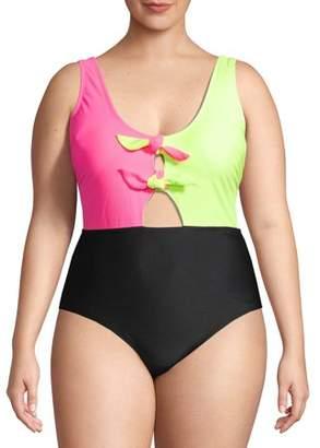 No Boundaries Juniors' Plus Size Neon Colorblock One Piece Swimsuit