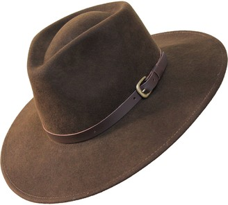 Borges & Scott B&S Premium Lewis - Wide Brim Fedora Hat - 100% Wool Felt - Water Resistant - Leather Band - Dark Brown 54