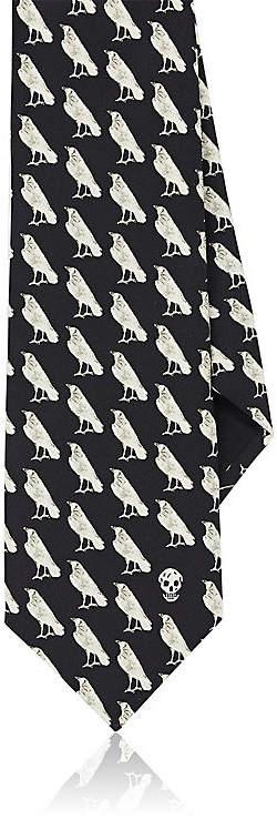Alexander McQueen Men's Raven-Print Silk Necktie